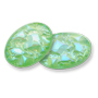 13253 Oval Geode Glass CabochonUltra AB Lime