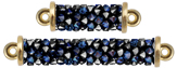 Swarovski 5951 Crystal Bermuda Blue Fine Rocks Tube 2-Rings Gold plated