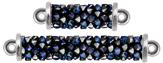 Swarovski 5951 Crystal Bermuda Blue Fine Rocks Tube 2-Rings Imitation Rhodium