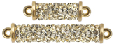 Swarovski 5951 Crystal Golden Shadow Fine Rocks Tube 2-Rings Gold plated